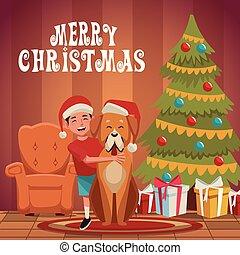 Boy with dog christmas cartoon