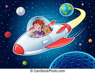 Cartoon of a boy and his dog flying in a spaceship coming from Earth and heading into outer space.