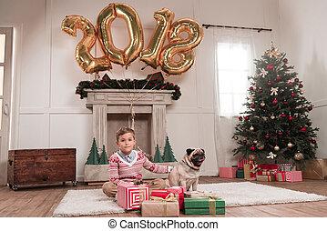 boy with dog on christmas