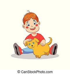Boy with dog vector illustration on white background