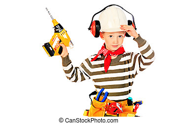 boy with drill
