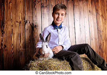 boy with easter bunny