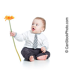 boy with flower , isolated on white