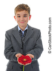 boy with flower - adorable boy with flowers. Isolated on...