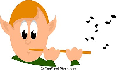 Boy with flute, illustration, vector on white background.