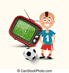 Boy with Football Ball and Television with Soccer Match on Screen - Vector Design