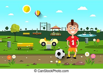Boy with Football Ball in City Park. Playground Vector Cartoon.