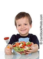 Boy with fruit salad