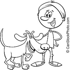 boy with funny dog cartoon coloring book