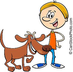 boy with funny dog cartoon illustration