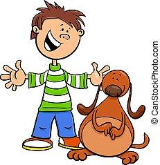 boy with funny dog or puppy cartoon illustration