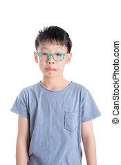 boy with funny face over white background