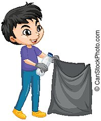 Boy with garbage bag on isolated background