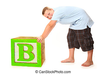 Boy with Giant Block