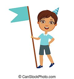 Boy With Giant Blue Flag, Part Of Kids At The Birthday Party Set Of Cute Cartoon Characters With Celebration Attributes