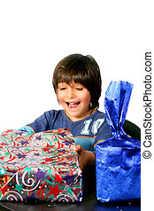 Boy with gifts