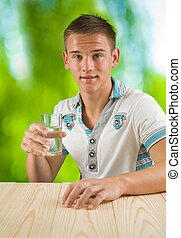 boy with glass of water