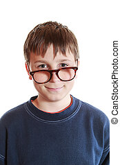 boy with glasses and low vision