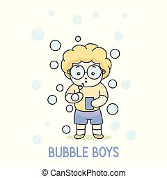 Boy with glasses playing bubble balloon, vector illustration