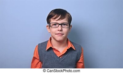 boy with glasses schoolboy surprise school board