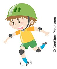Boy with green helmet rollerskating illustration