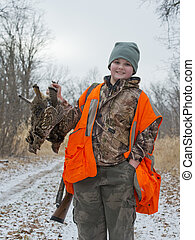 Boy with grouse - Boy with three Ruffed Grouse