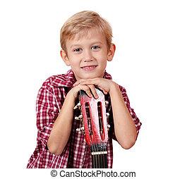 boy with guitar portrait