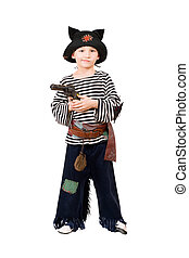 Boy with gun dressed as a pirate