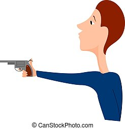 Boy with gun, illustration, vector on white background.