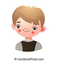Boy with happy kind face expression vector illustration