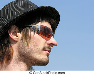 boy with hat and sunglass
