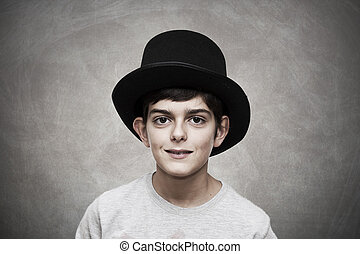 boy with hat on background