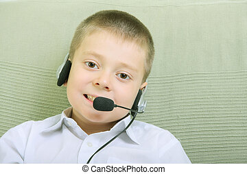 Boy with headset phone