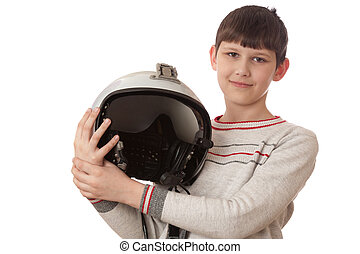 boy with helmet isolated on white background