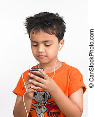 boy with his cell phone - Asian wearing orange t-shirt with...