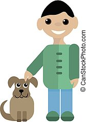 Boy with his pet , vector or color illustration