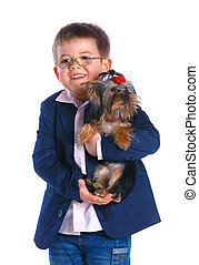 Boy with his Yorkshire terrier