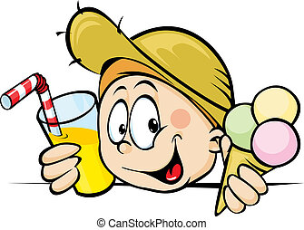 boy with ice cream and juice peeking from behind the desk isolated on white background