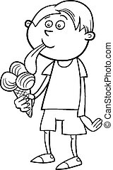 boy with ice cream coloring page - Black and White Cartoon...