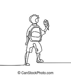 Boy with ice-cream going back to school with bag.