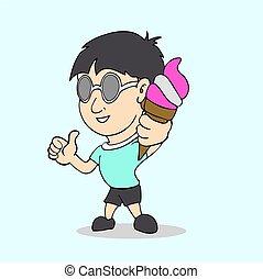 boy with ice cream in hand cartoon