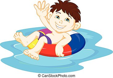 Boy with inflatable circle waving