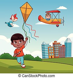 Boy with kite cartoon