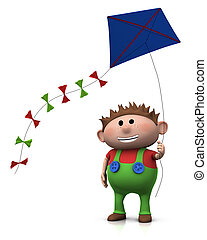 boy with kite - cute cartoon boy with a big smile on his...
