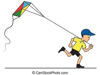 Boy with kite flying