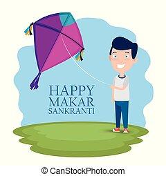 boy with kite to celebrate makar sankranti