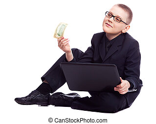boy with laptop and money