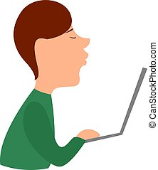 Boy with laptop, illustration, vector on white background.
