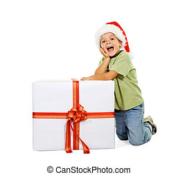 Boy with large present