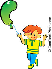 Friendly little boy with balloon in the shape of the letter C on a white background. Vector art-illustration.